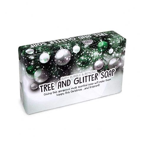 Christmas Tree Glitter Snowmusk Glycerin Soap Slice - Bath Bubble & Beyond 120g